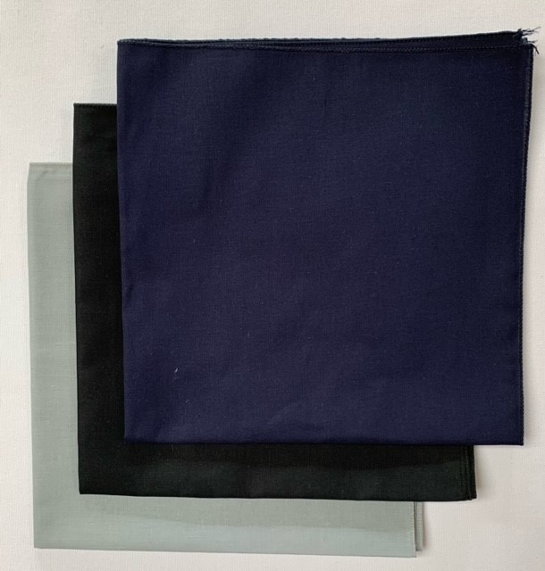 USA Made Solid Color Bandanas 3 Pk Cotton Grey Black Navy 22""