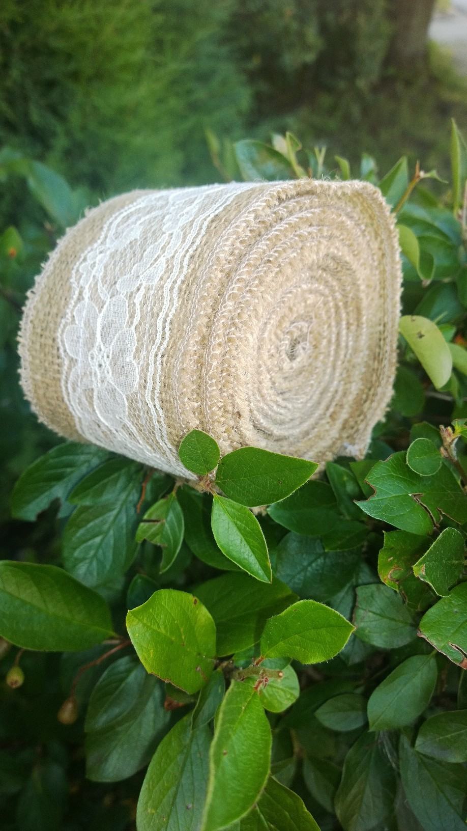"3"" Natural Burlap Ribbon w/2"" Ivory Lace 5 Yards - Made in USA"