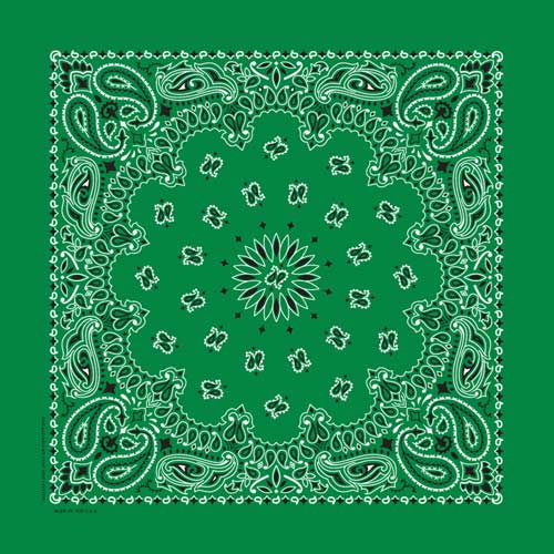 "Kelly Green Paisley Bandanas - USA Made (12 Pk) 22"" x 22"""