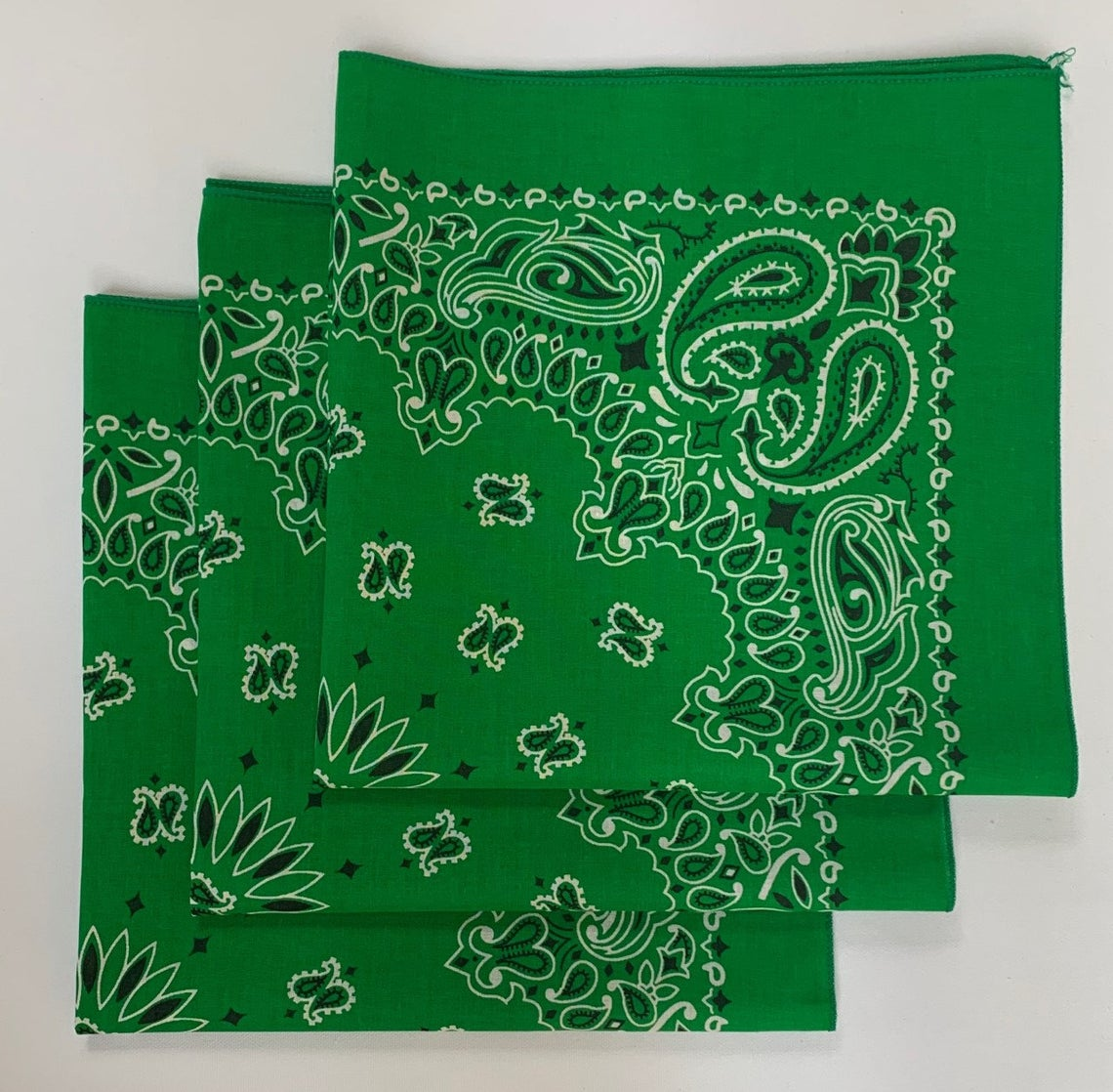 "Kelly Green Paisley Bandanas - Made In The USA (3 Pk) 22"" x 22""a"
