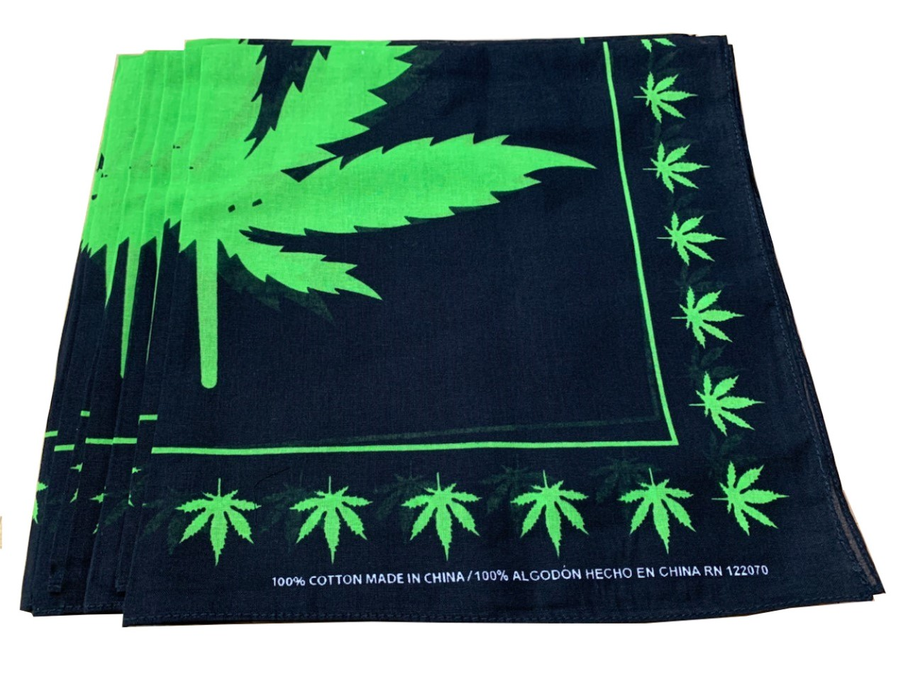 "Marijuana Leaf Bandanas 12 Pack 22"" x 22"" - 100% Cotton"