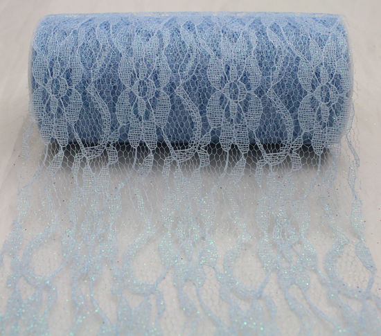 "Light Blue Sparkle Lace Ribbon - 6"" x 10 Yards"