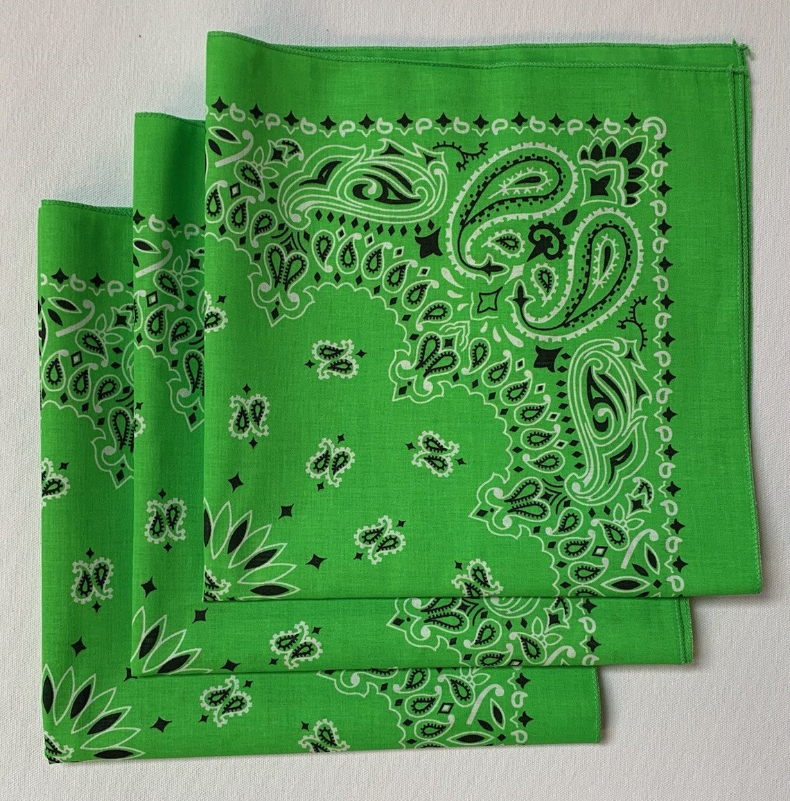 "Lime Paisley Bandanas - Made In The USA (3 Pk) 22"" x 22"""