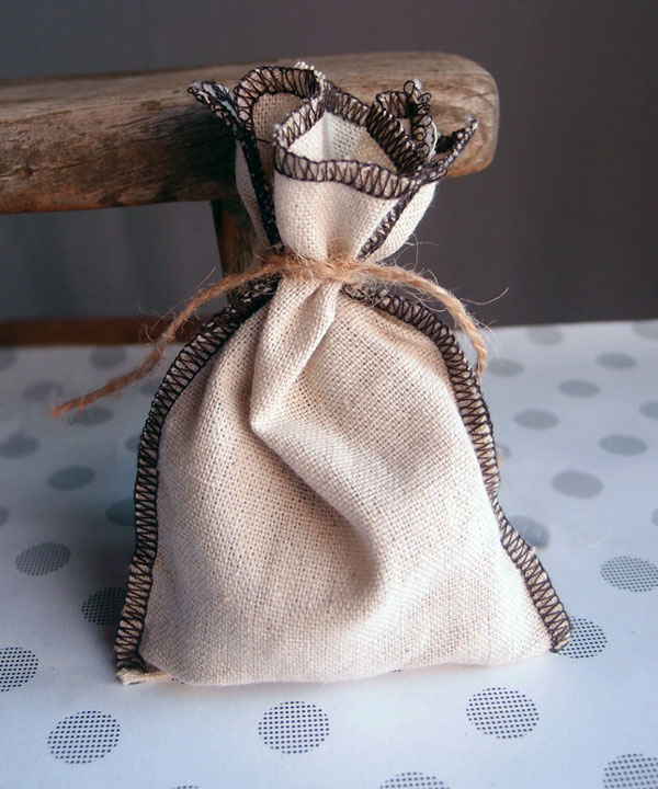 "3.5"" x 5"" Linen Pouch Bags with Brown Serged Edges (12 Pk)"