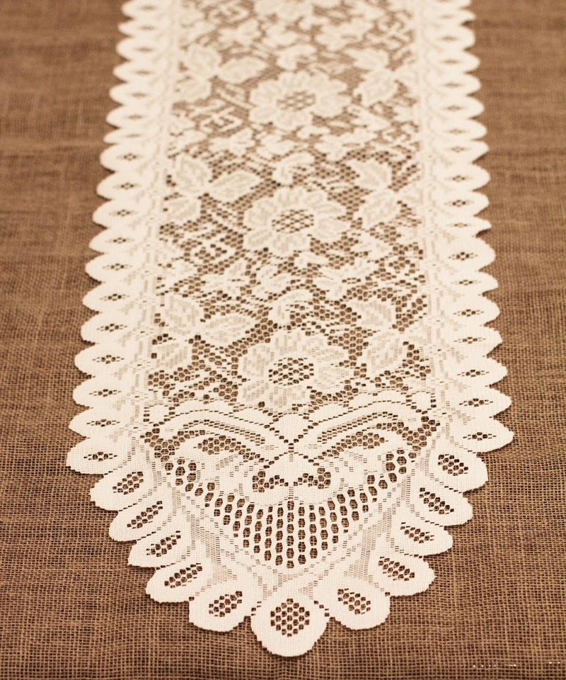 "13"" x 120"" Ivory Floral Lace Table Runner"