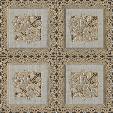 "54"" Vinyl Printed Ivory Lace Oil Cloth - Per Yard (no felt back)"