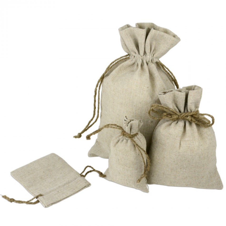 10 x 12 Linen Favor Bag with Jute Draw (dozen)