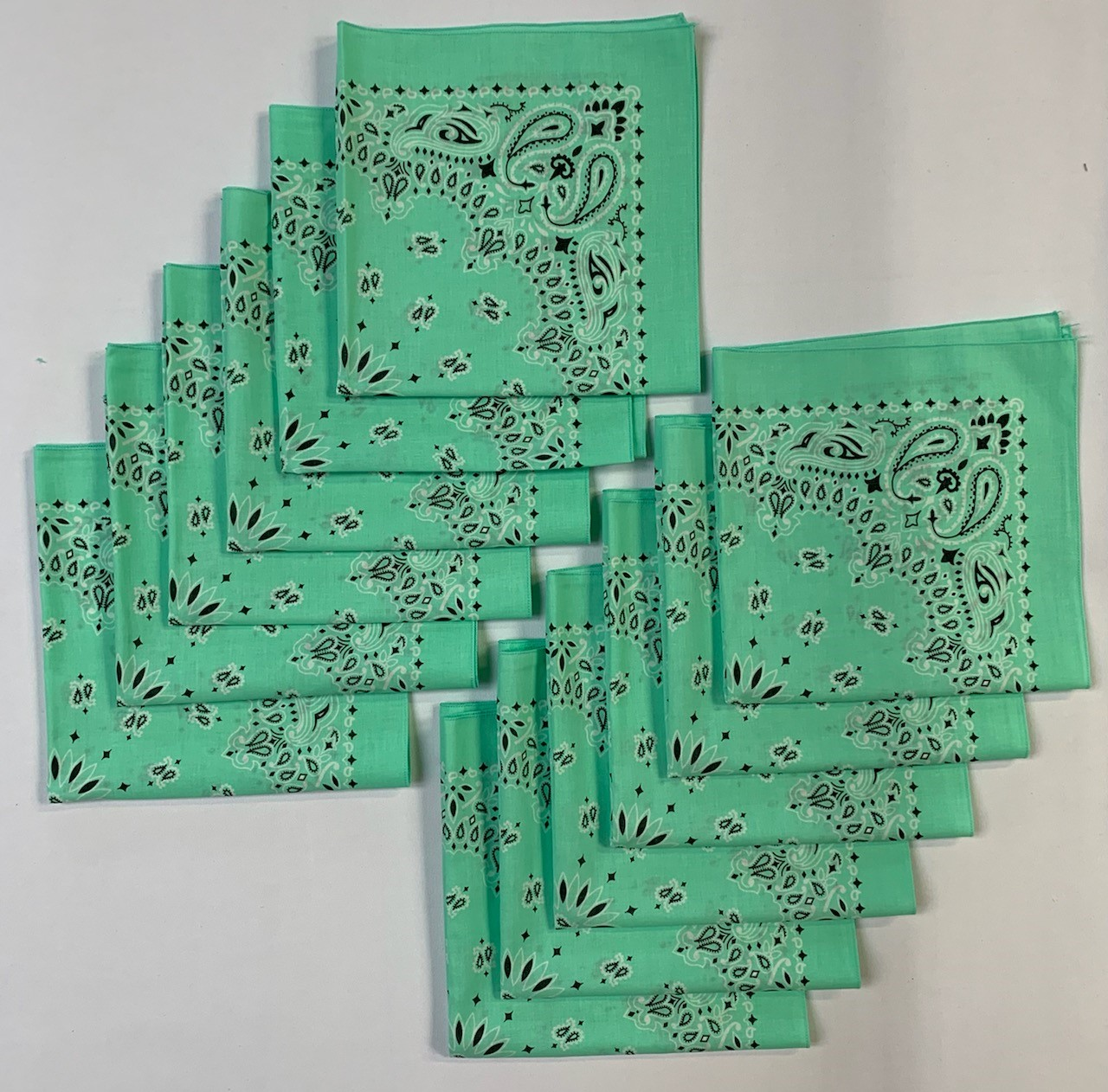 "Made in the USA Mint Paisley Bandanas 12 Pk, 22"" x 22"" Cotton"