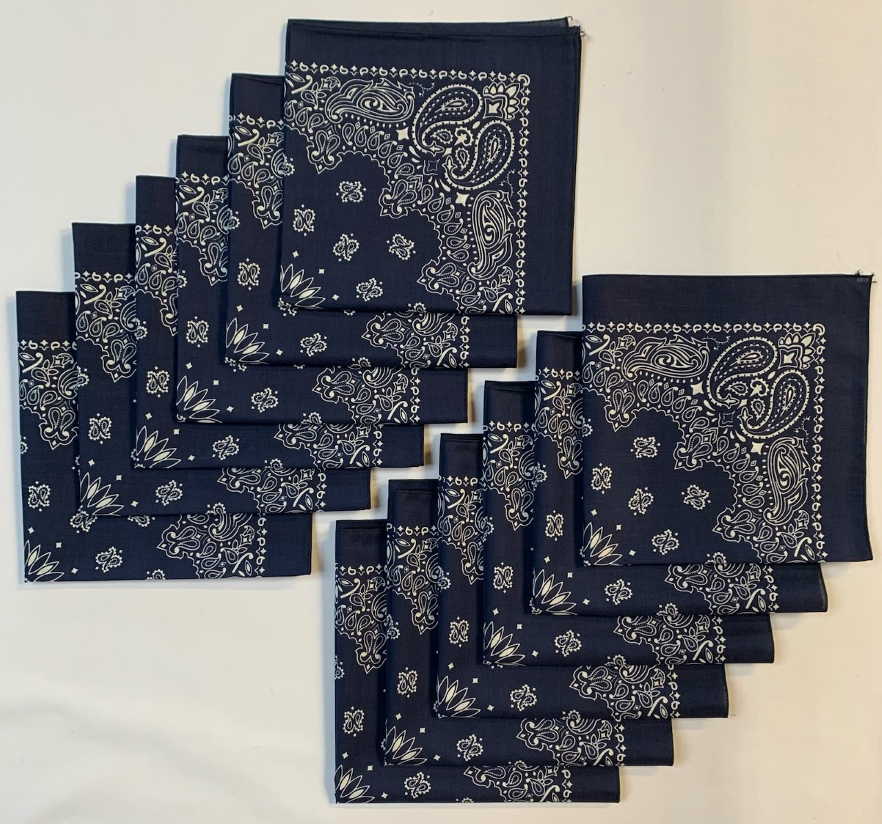"Made in the USA Navy Paisley Bandanas 12 Pk, 22 x 22"" Cotton"