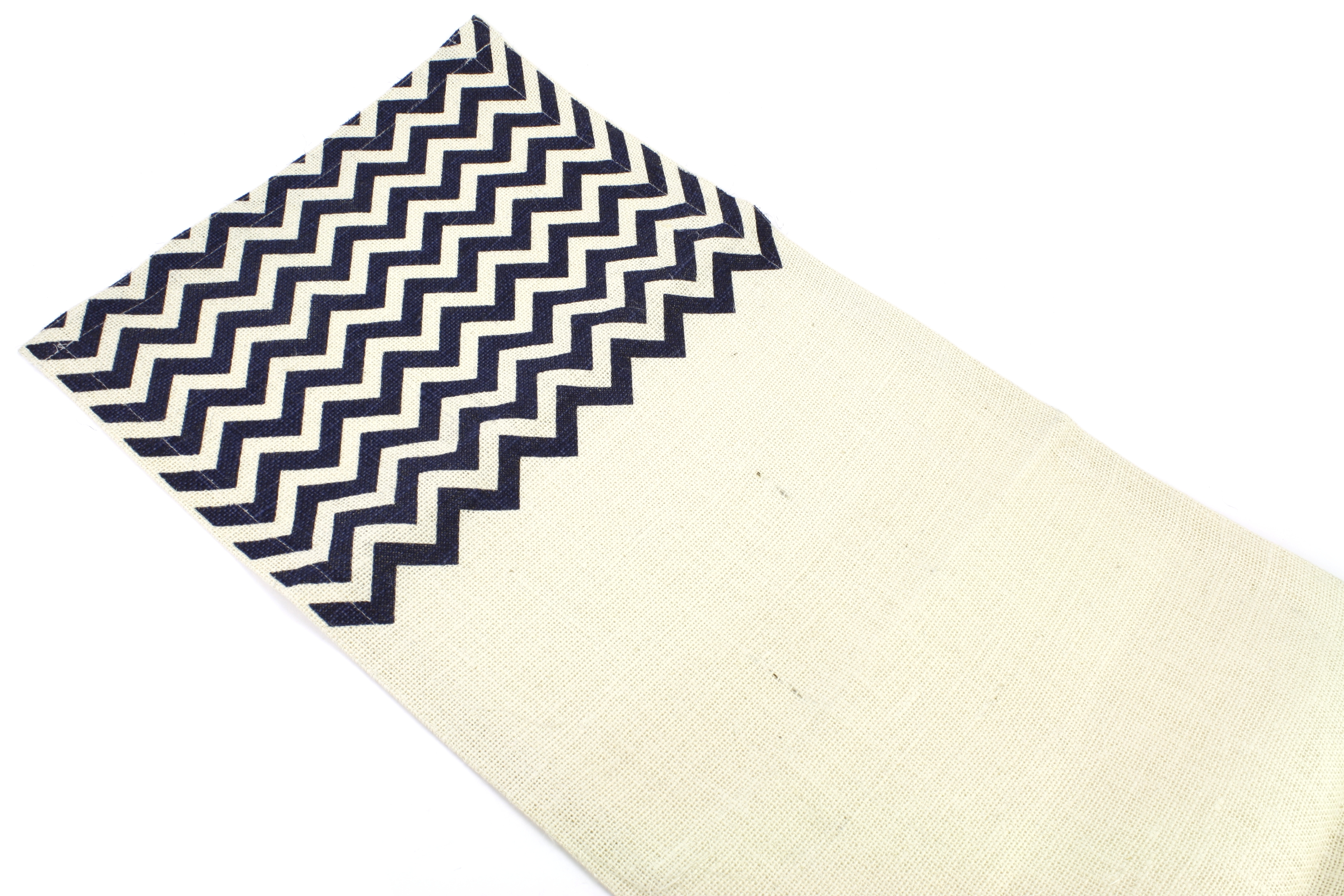 "Chevron Burlap Table Runner - 14"" x 70"" Ivory/Navy"