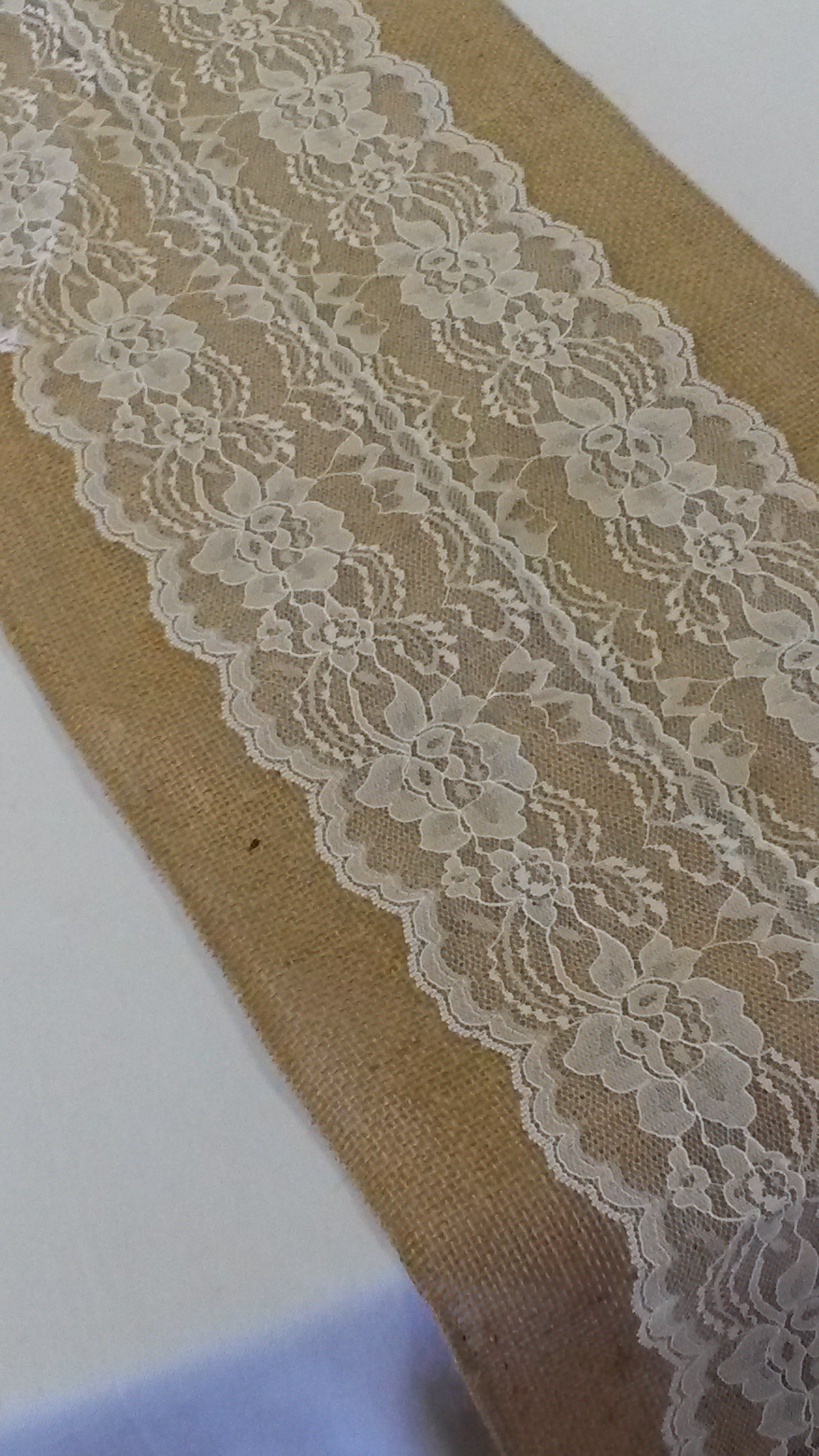 "Burlap and Lace Table Runner - Ivory (12"" wide)"