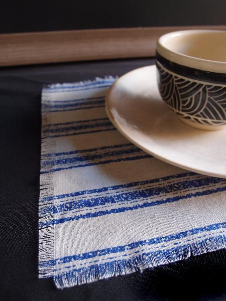 "15.5"" x 11.5"" Fringed Linen Napkins Ocean Blue Stripes (12 Pk) - Click Image to Close"
