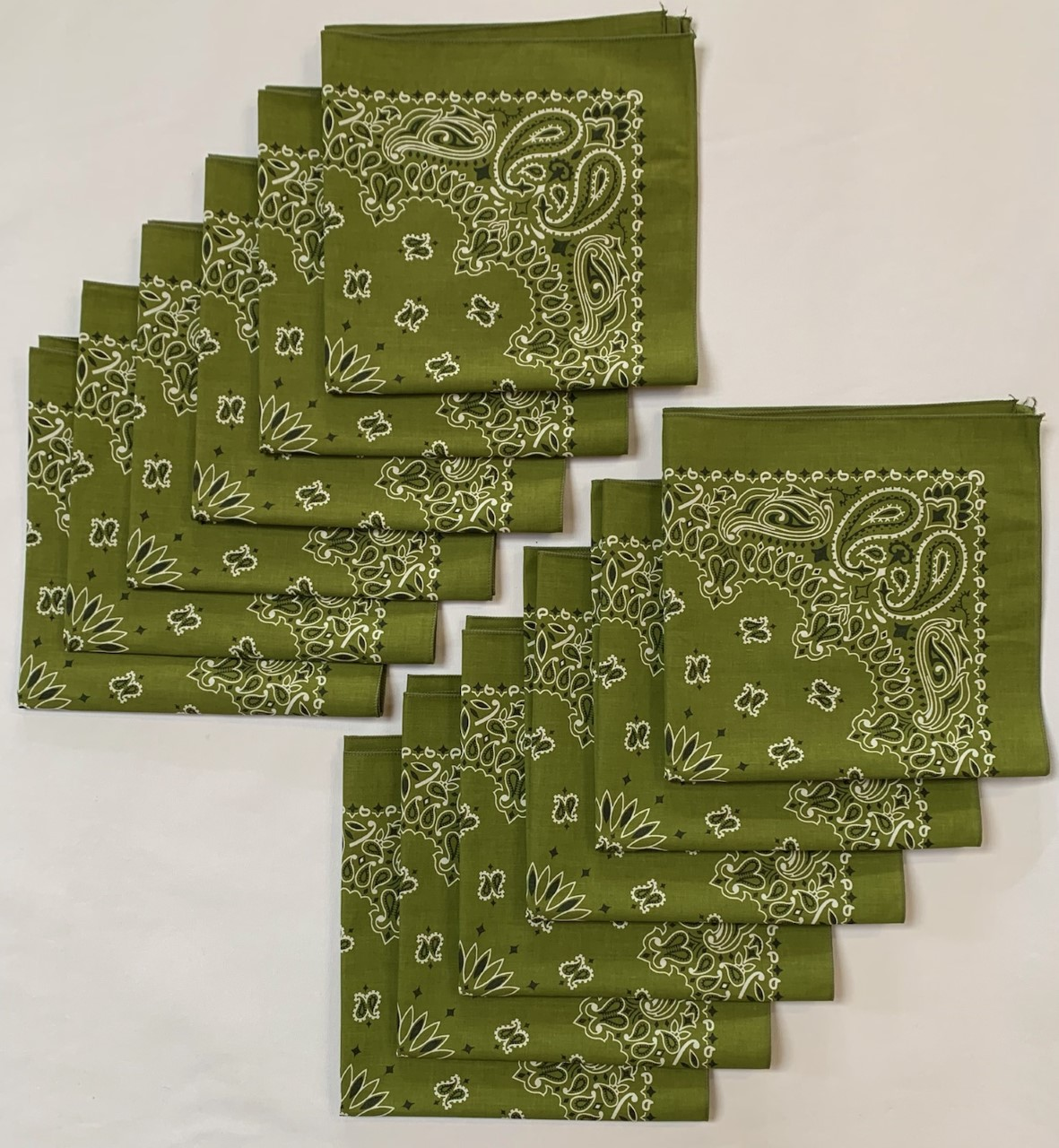 "Made in the USA Olive Paisley Bandanas 12 Pk, 22"" x 22"" Cotton"