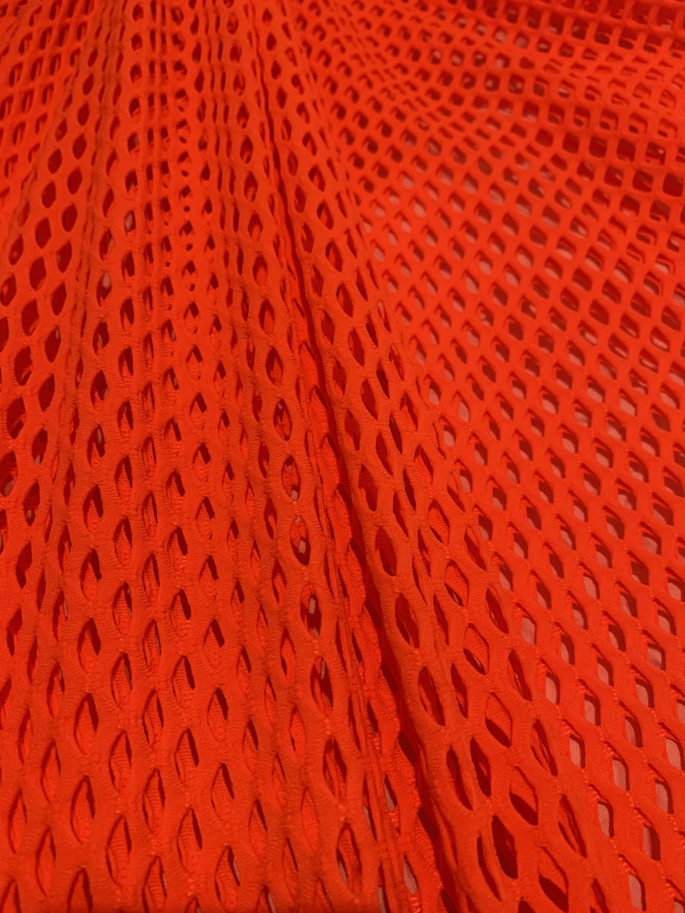 "58"" Orange Poly Mesh Fabric BTY 75% Poly, 17% Nylon, 8% Spandex"