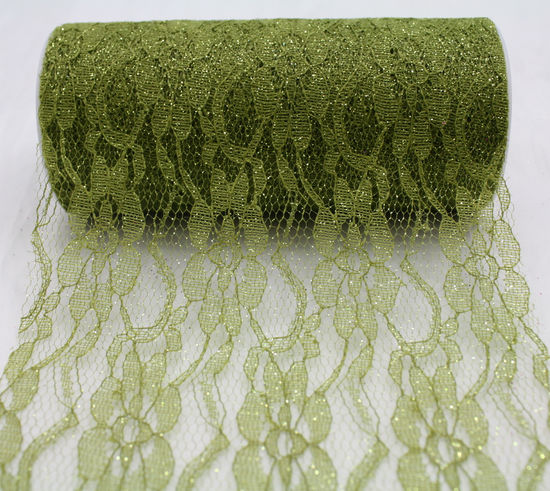 "Olive Sparkle Lace Ribbon 6"" x 10 Yards"