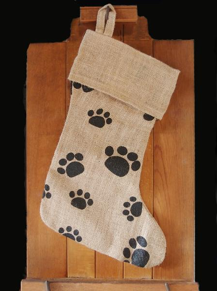 "Burlap Stocking Dog Paw Print - 8""W x 17""H 12""B"