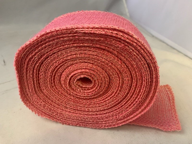 "2"" Pink Burlap Ribbon - 10 Yards (Serged)"