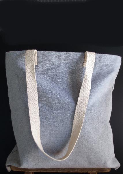 "15""W x 15""H Grey Recycled Canvas Tote Bag"