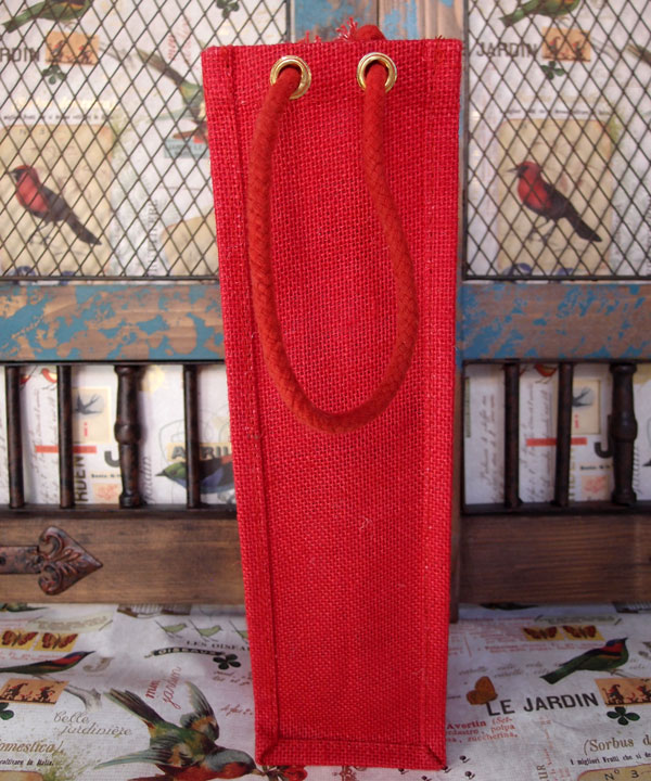 "4"" X 4"" X 14"" BURLAP WINE BAG - RED W/ROPE HANDLE"