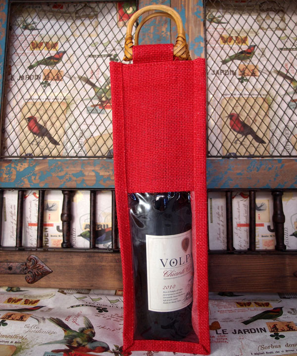 "Red Jute Wine Bag W/Clear Window 4"" X 4"" X 14"""