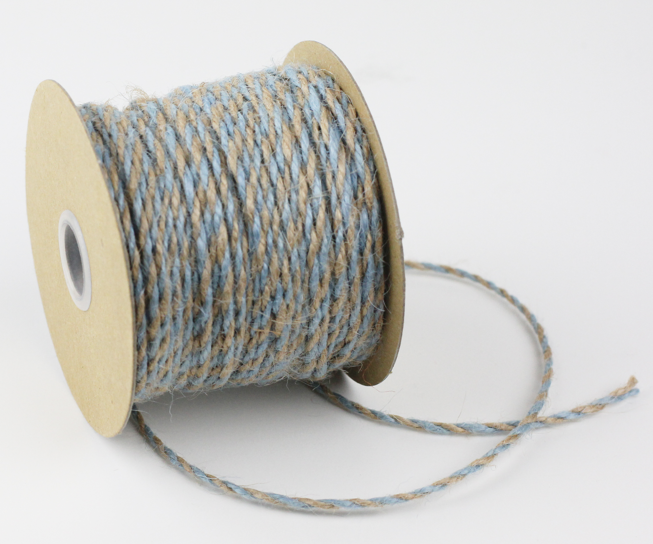 2.5 mm Light Blue/Natural Jute Twine - 50 Yards