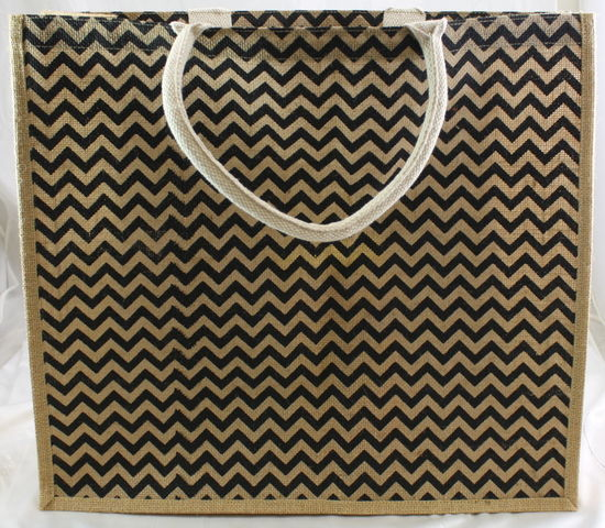 "Chevron Jute Tote Bag 20""x7"" x18"" Natural/Black"