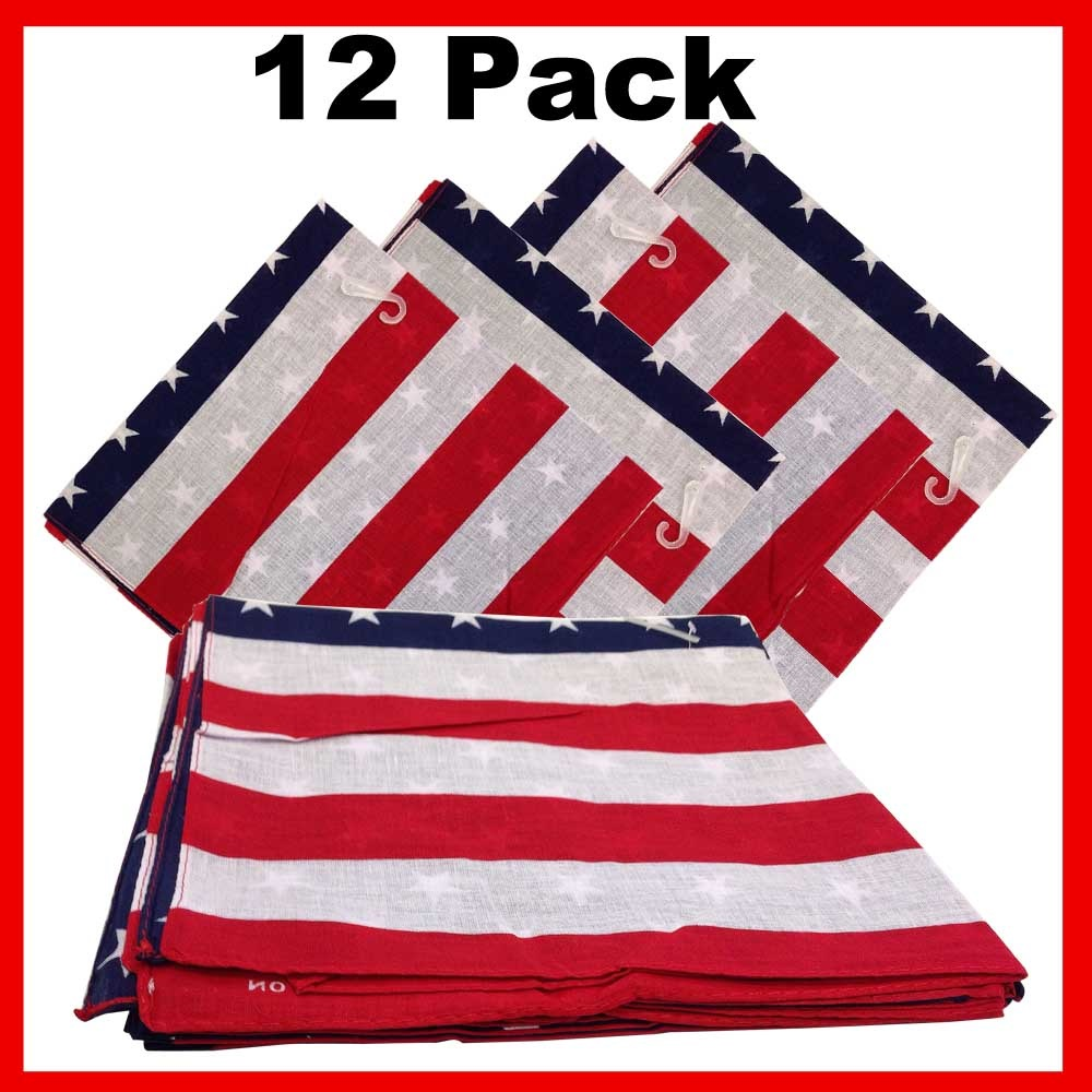"American Flag Bandanas (12 Pk) 22"" x 22"" 100% Cotton"