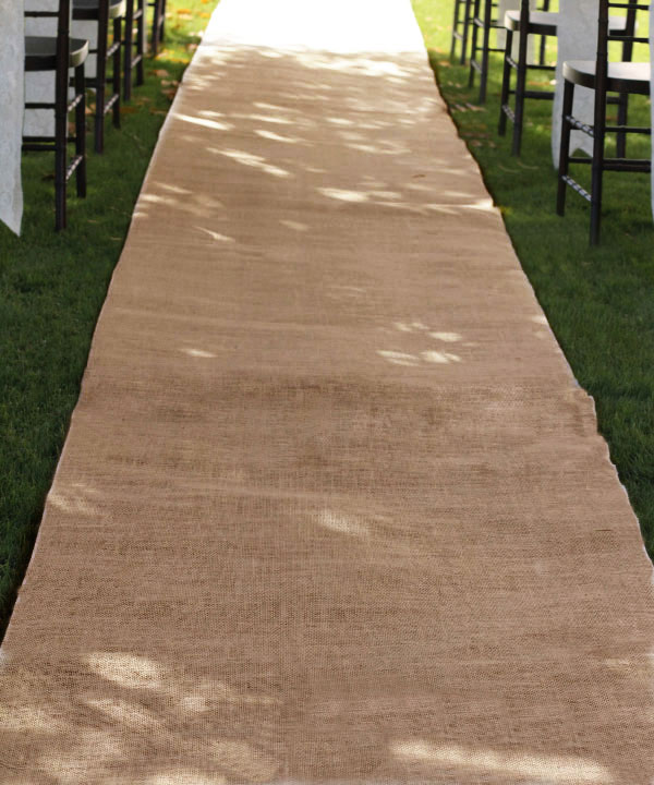 "Burlap Aisle Runner - 36"" x 100ft (serged edges)"