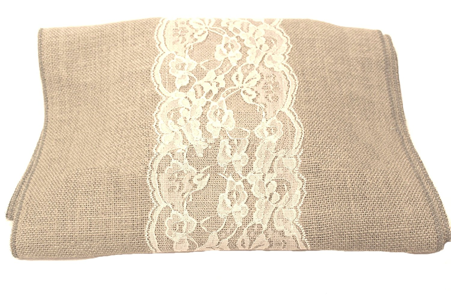 "14"" Ash Grey Burlap Runner with 6"" White Lace"