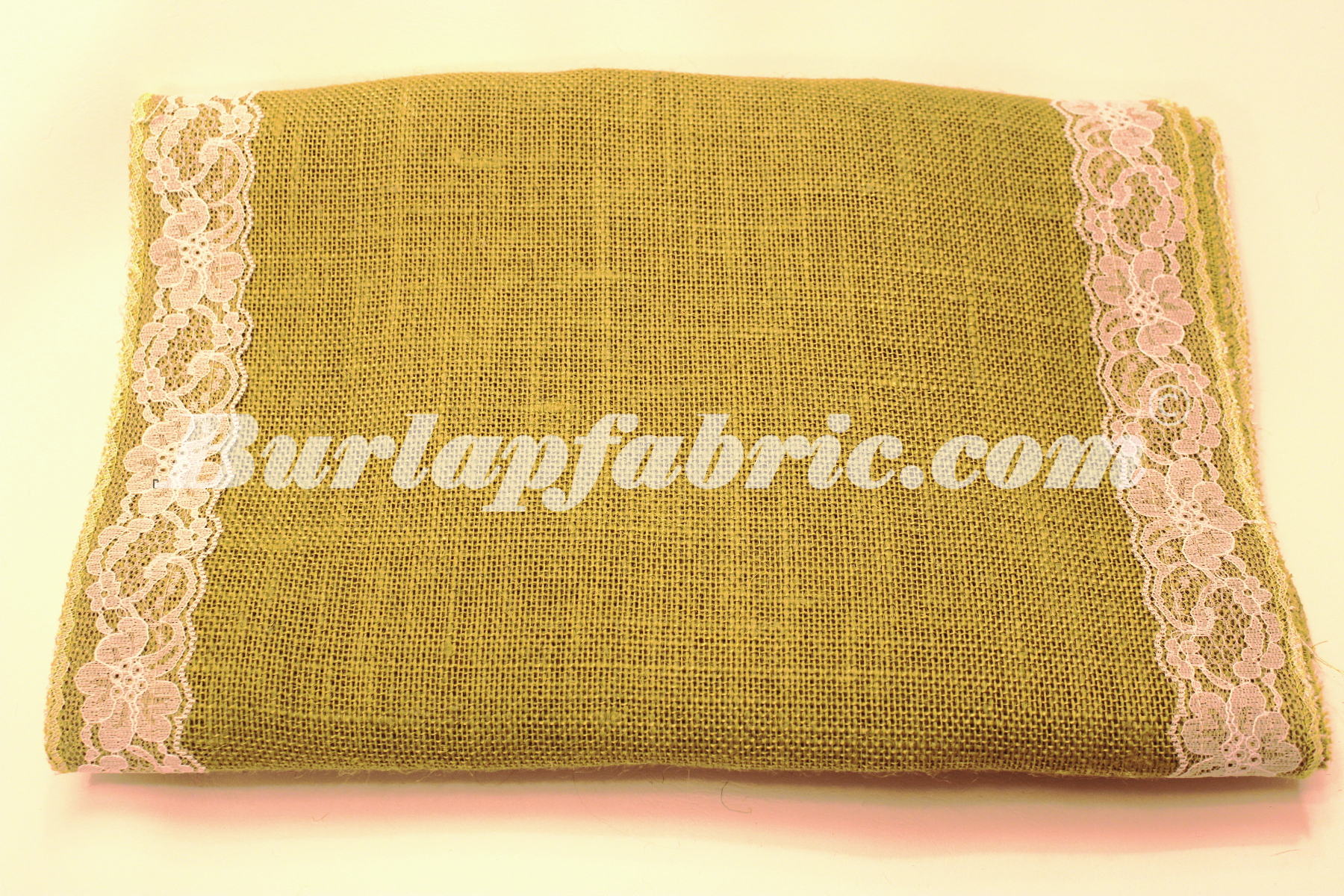"14"" Avocado Burlap Runner with 2"" White Lace Borders"