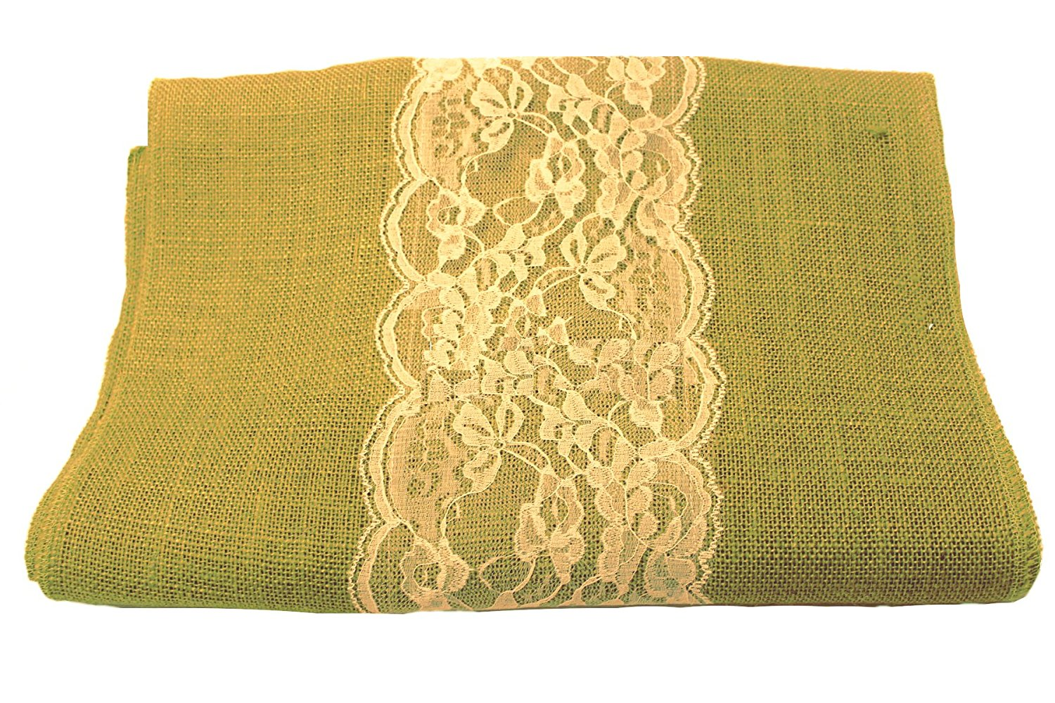"14"" Avocado Burlap Runner with 6"" White Lace"