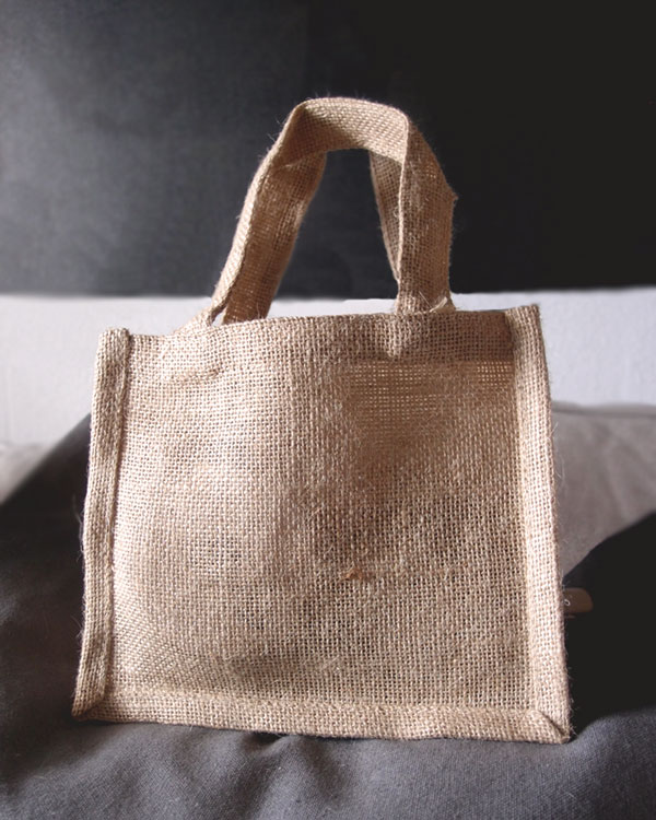 "Natural Jute Tote Bags - 7"" x 6"" x 2-3/4"" (6 Pack)"