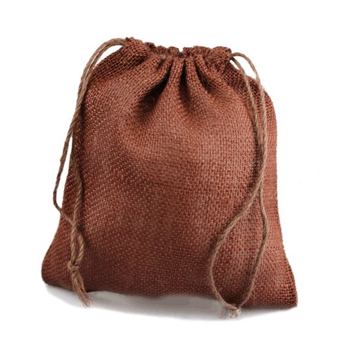 "12"" x 14"" Chocolate Burlap Bags with Drawstring (10/pk)"