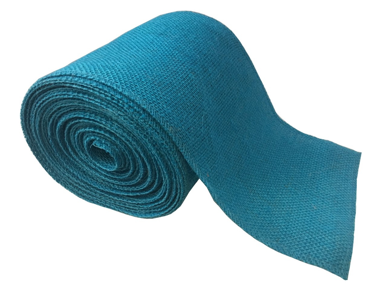 "6"" Turquoise Burlap Ribbon - 10 Yards (Serged)"
