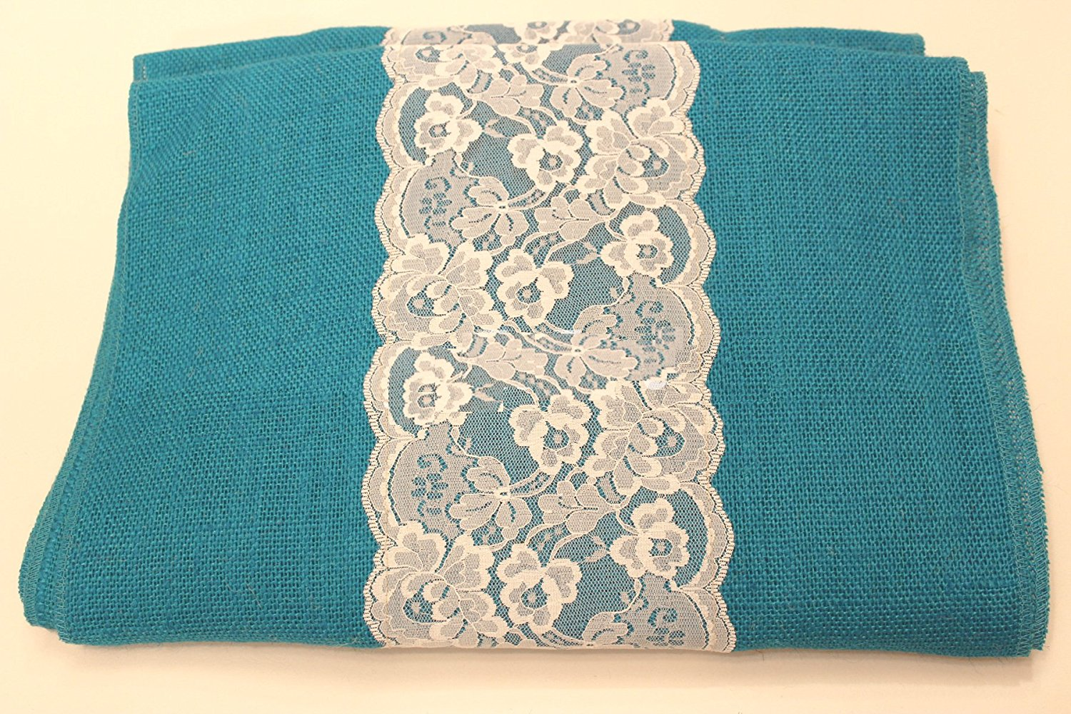 "14"" Bahama Turquoise Burlap Runner with 6"" White Lace - Click Image to Close"