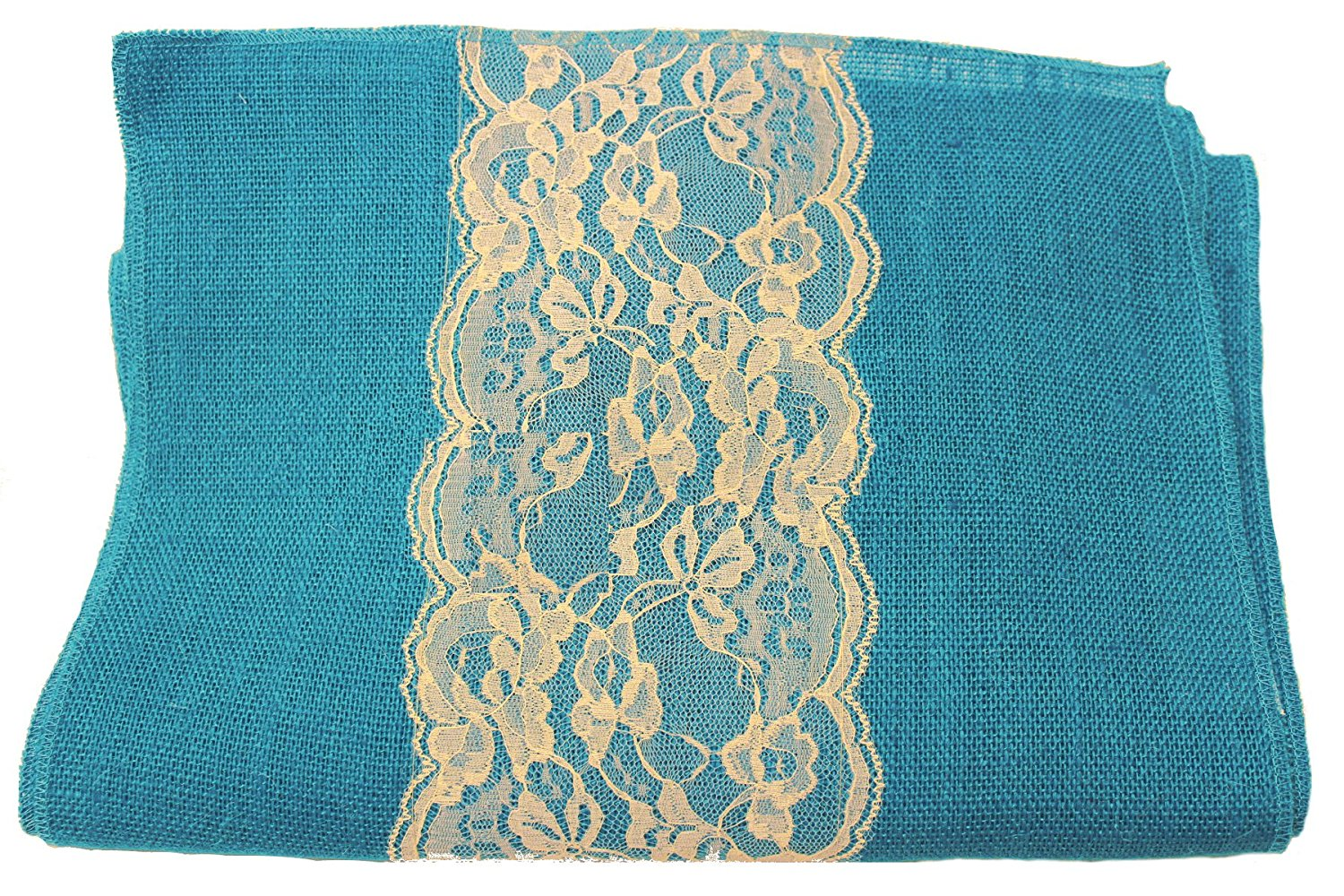 "14"" Bahama Turquoise Burlap Runner with 6"" Ivory Lace"