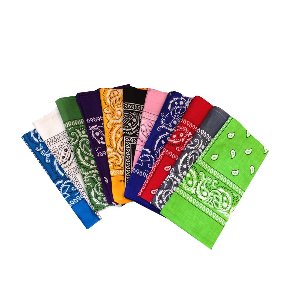 "Bandana Assortment 100% Cotton (12 Pack) 22"" x 22"" Paisley"