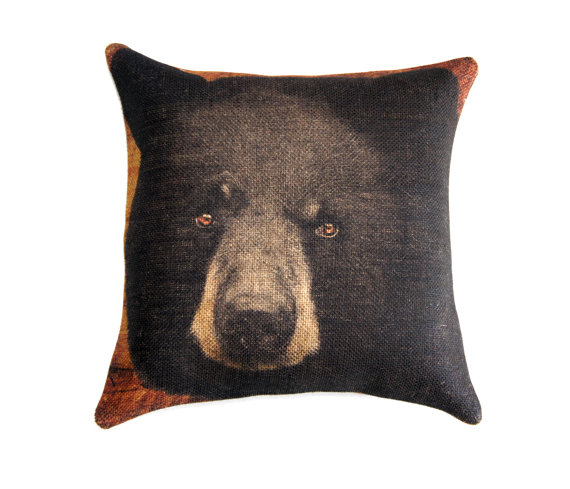 "Black Bear Burlap Pillow Cover - 18"" x 18"""