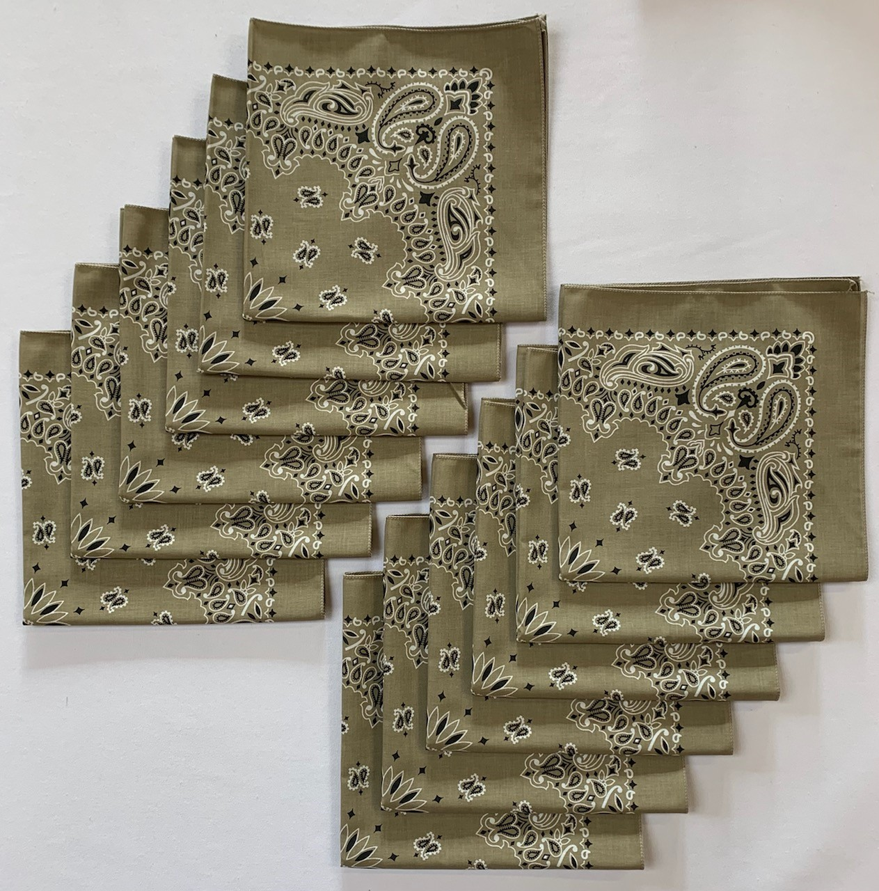 "Made in the USA Beige Paisley Bandanas 12 Pk, 22"" x 22"" Cotton"