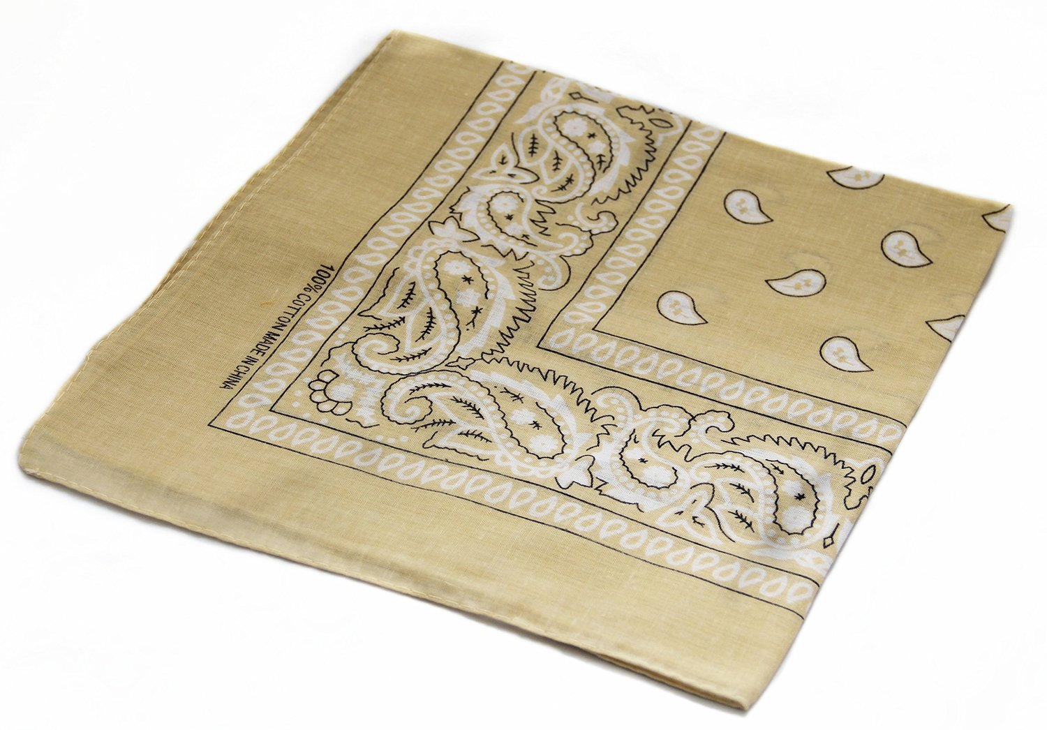 "Beige Paisley Bandanas (12 Pack) 22"" x 22"" 100% Cotton - Click Image to Close"