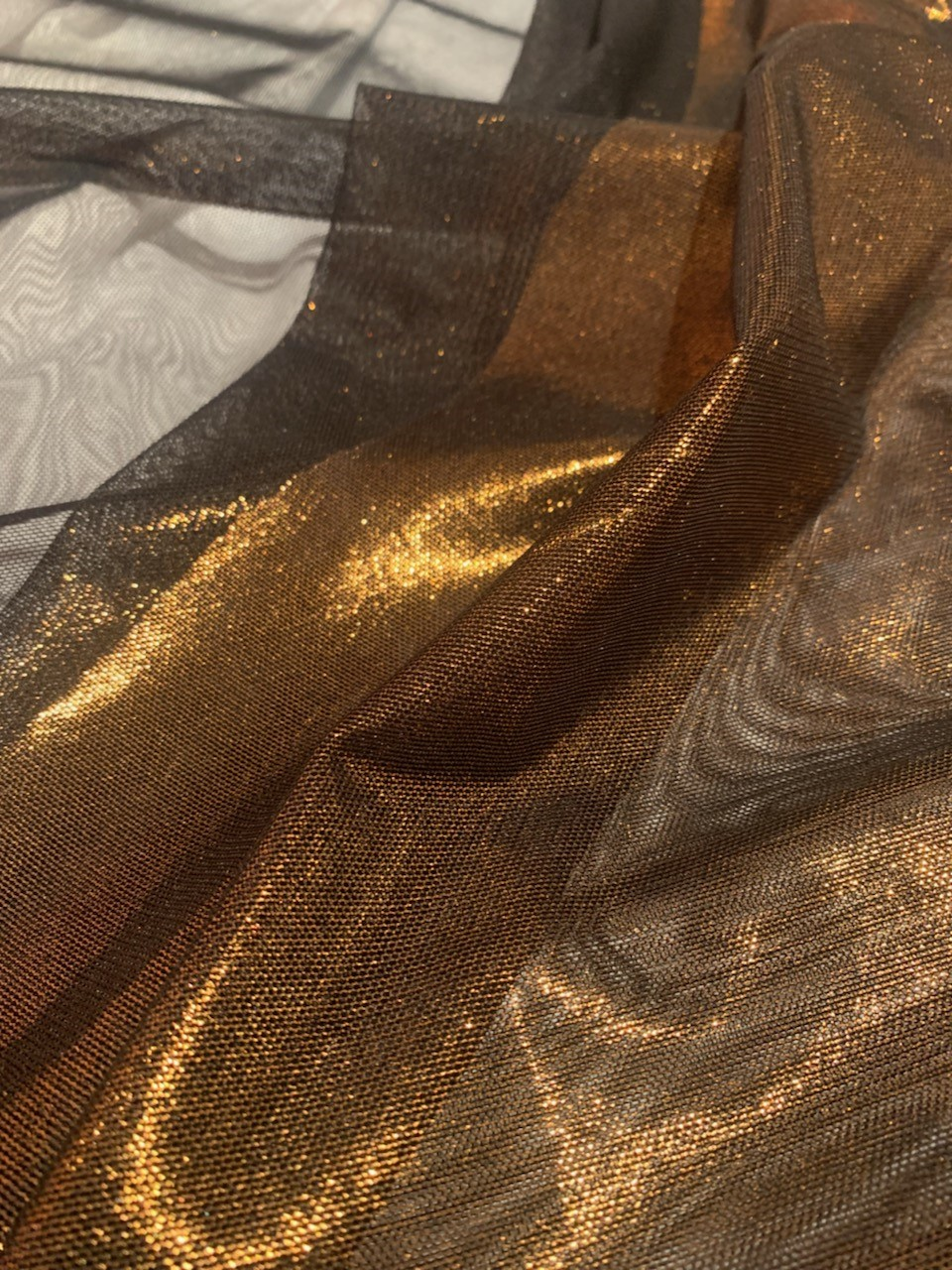 "57"" Black/Copper Foil Power Mesh Fabric By The Yard"