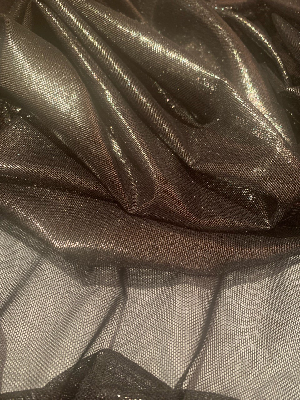 "57"" Black/Silver Foil Power Mesh Fabric By The Yard"