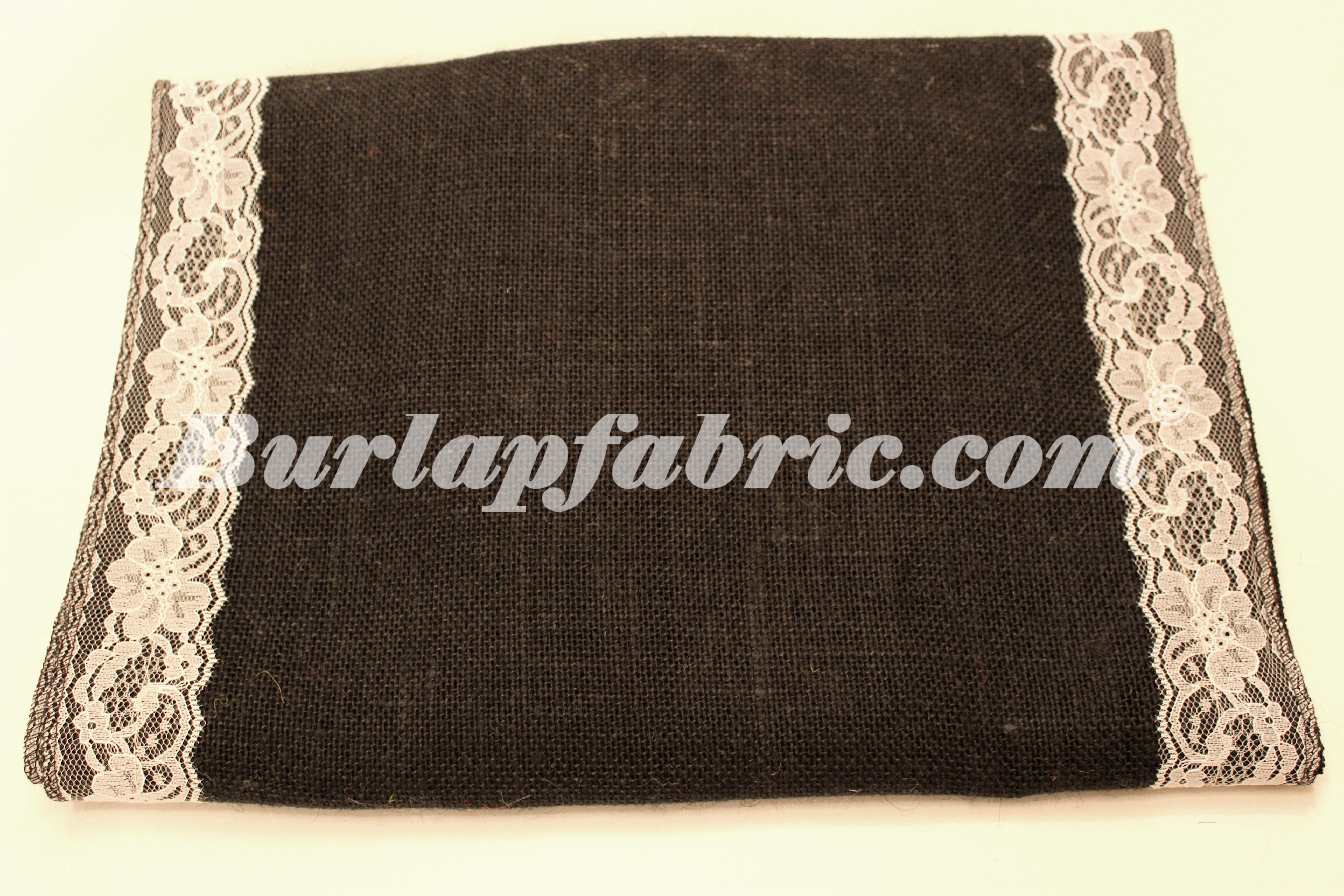 "14"" Black Burlap Runner with 2"" White Lace Borders"