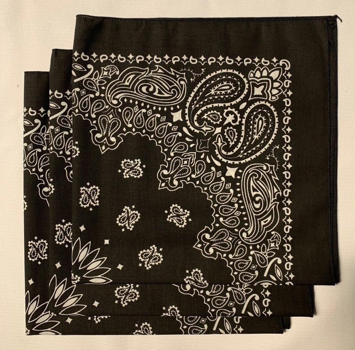 "Black Paisley Bandanas - Made In The USA (3 Pk) 22"" x 22"""
