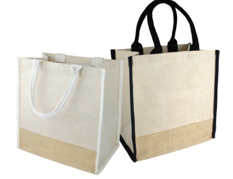"Burlap Tote Bag With Black or Ivory Handles 12""Wx12""H x 7 3/4""D"
