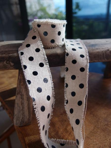 "1"" x 180"" Black Dots Linen Ribbon"