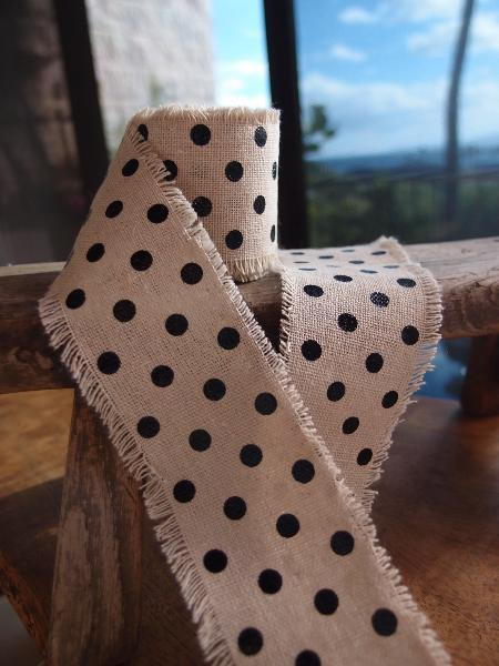 "2"" x 180"" Black Dots Linen Ribbon"