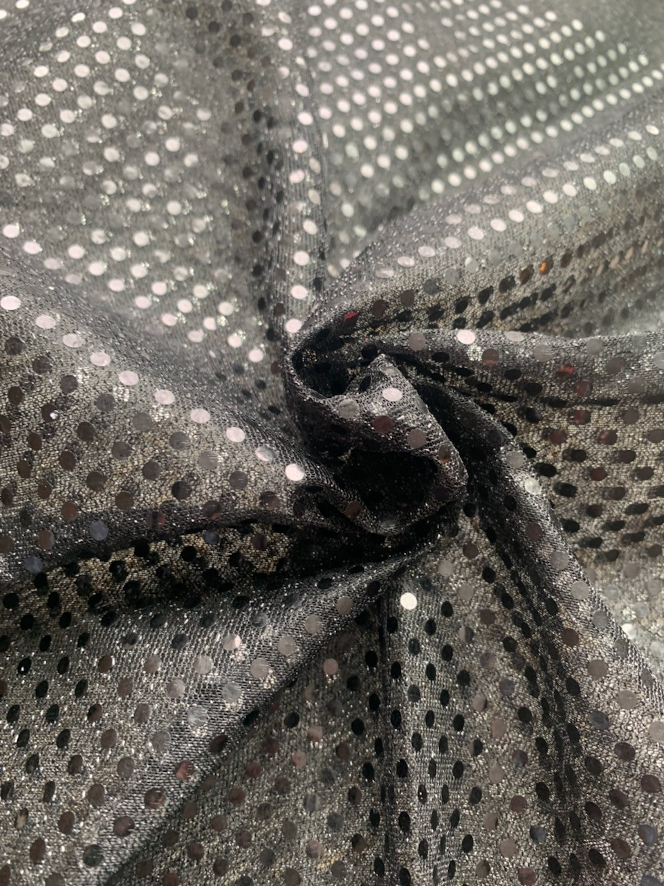 "44/45"" Black Dot Sequin Faric By The Yard"
