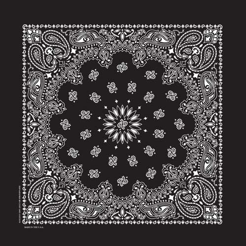 "Black Paisley Bandanas - USA Made (12 Pk) 22"" x 22"""