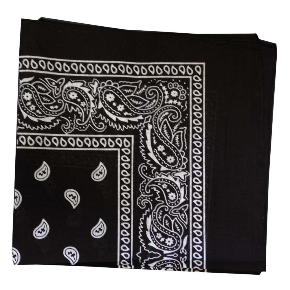 "Black Paisley Bandana - 22"" x 22"" (100% cotton)"